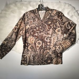 DONCASTER All Silk Women's Paisley Button Up